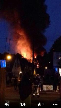 Witnesses described seeing fireballs billowing into the air as the blaze raged. Pic tweeted by Amelia