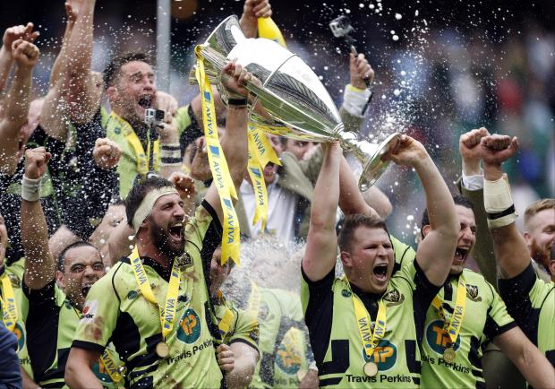 Northampton Saints celebrate their first Premiership title at Saracens' expense. Picture: Action Images