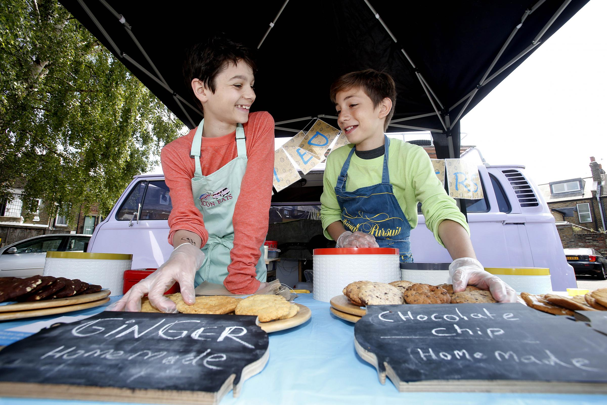 Asher Kelvin, 13 and Sam Lachmann, 12, decided to set up their own business, 'Cookie Dealers'.