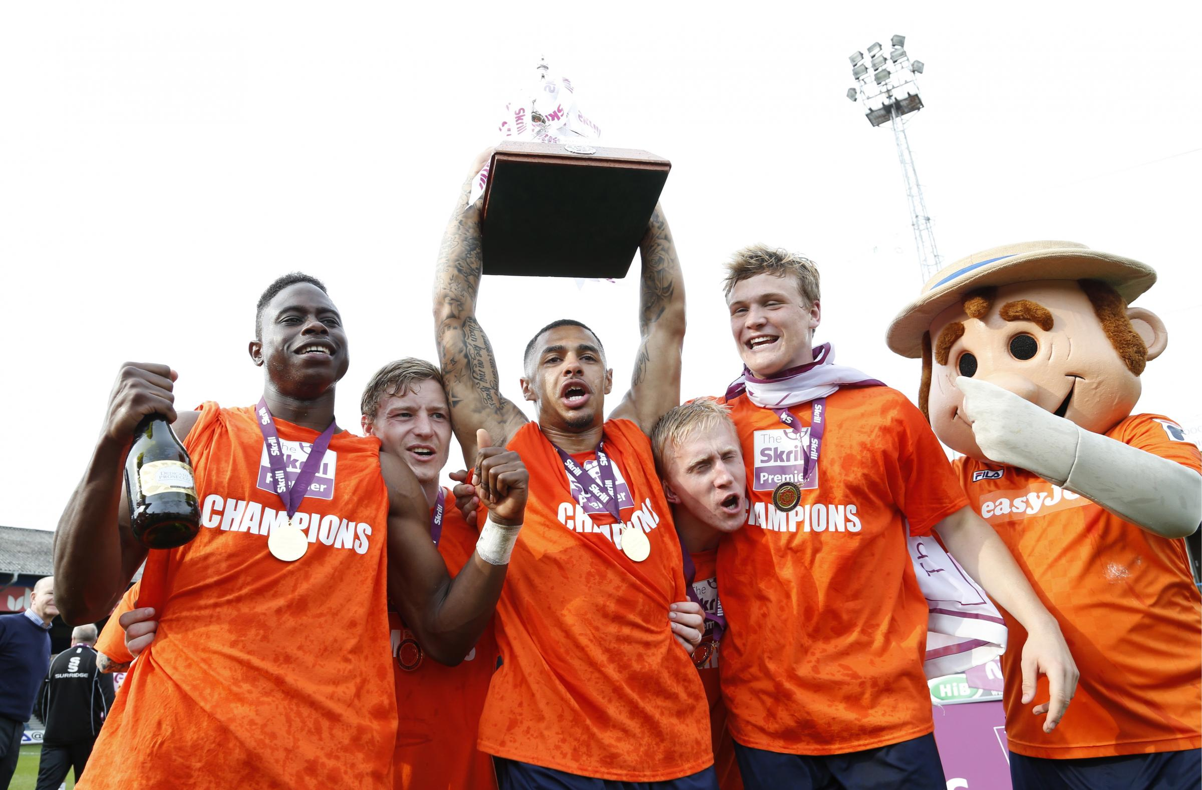 The Hatters celebrate promotion last season. Picture: Action Images