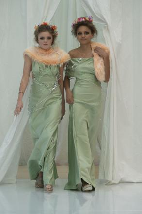Models showcase Cassie O'Brien's Debauched Debutantes collection.