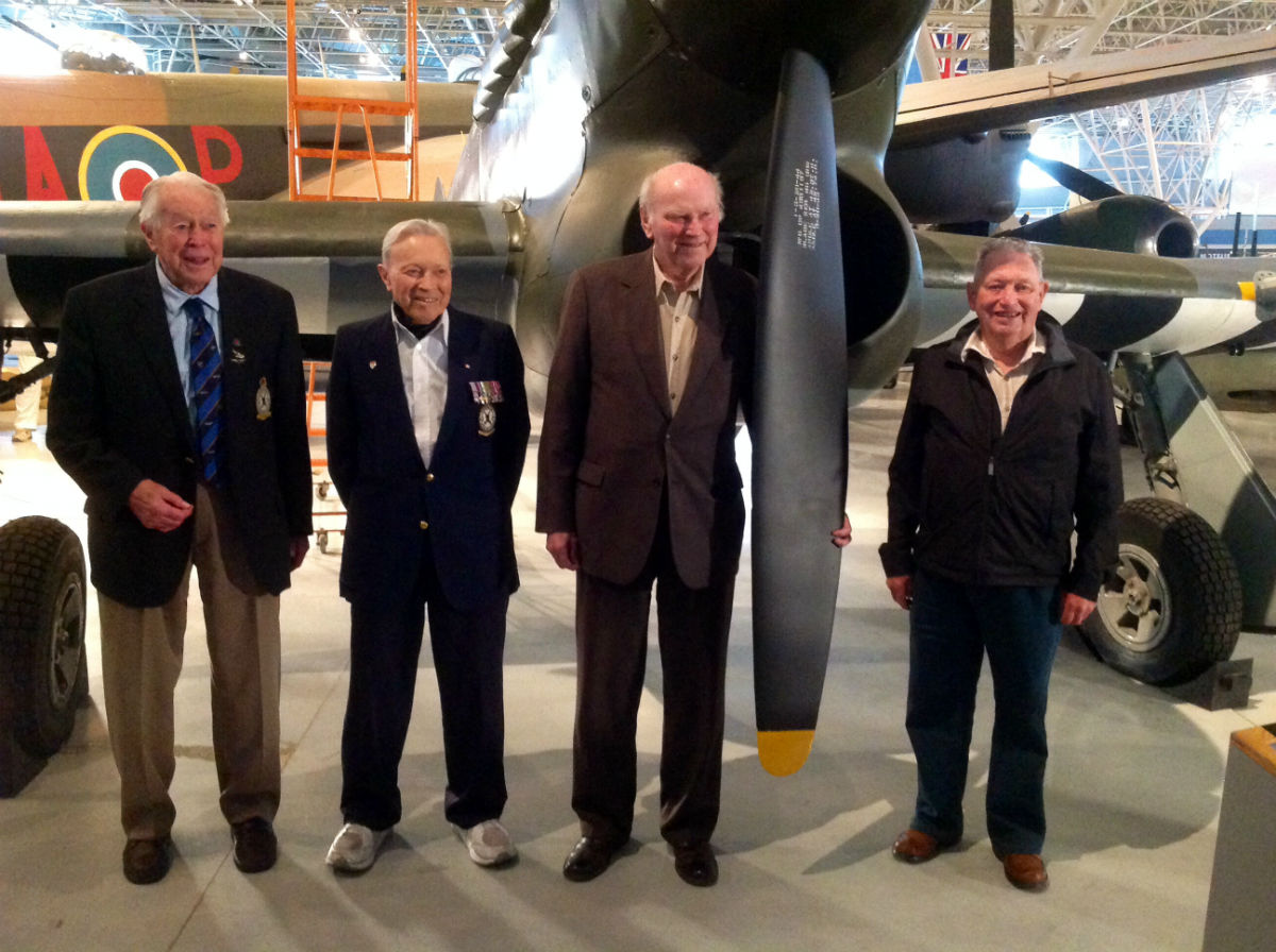 D-Day veterans flying officer Ken Hanna, flight lieutenant John Friedlander, flight lieutenant Harry Hardy and flying officer Angus Scott are reunited with the Hawker Typhoon.