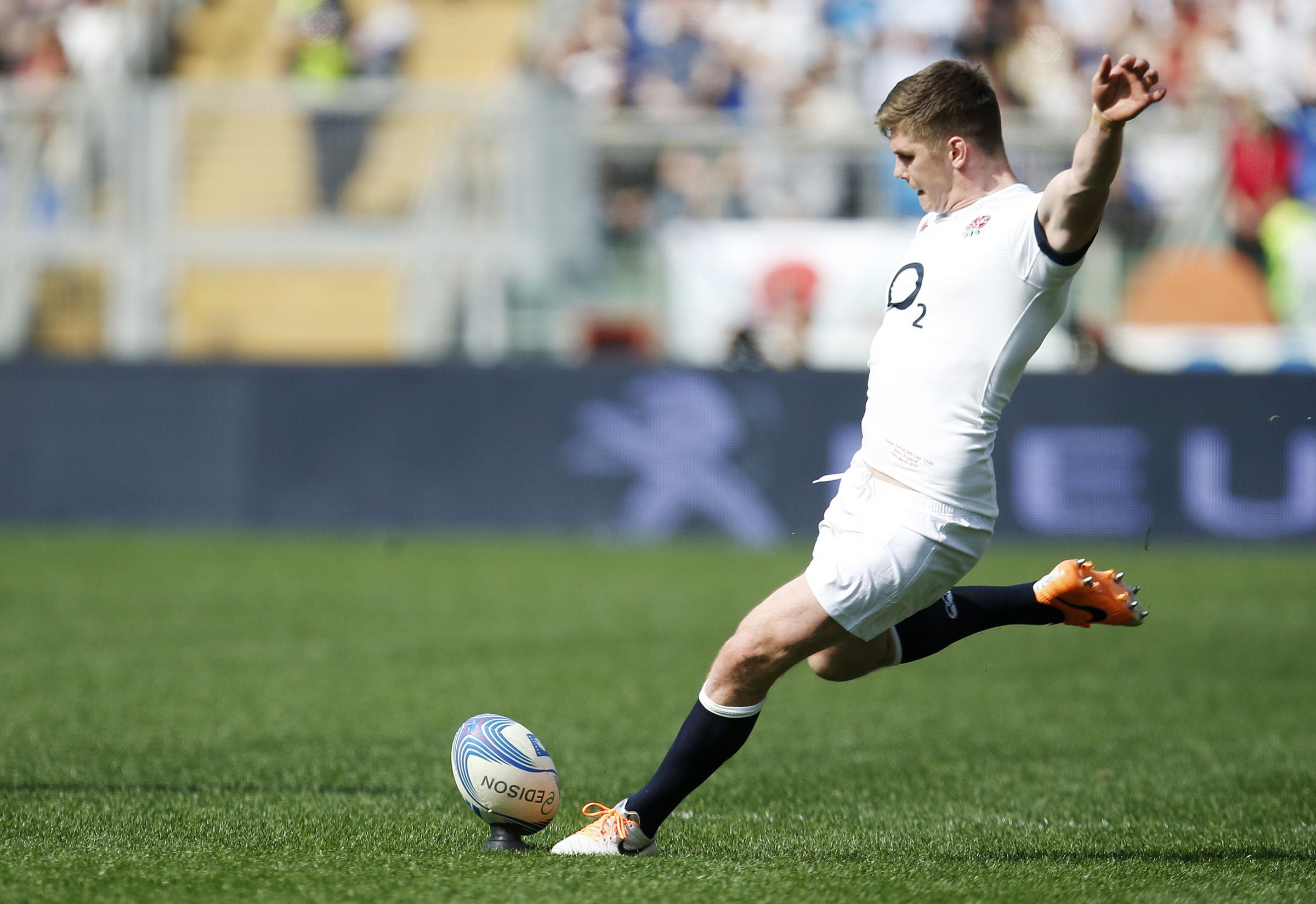 Owen Farrell on kicking duty for England. Picture: Action Images