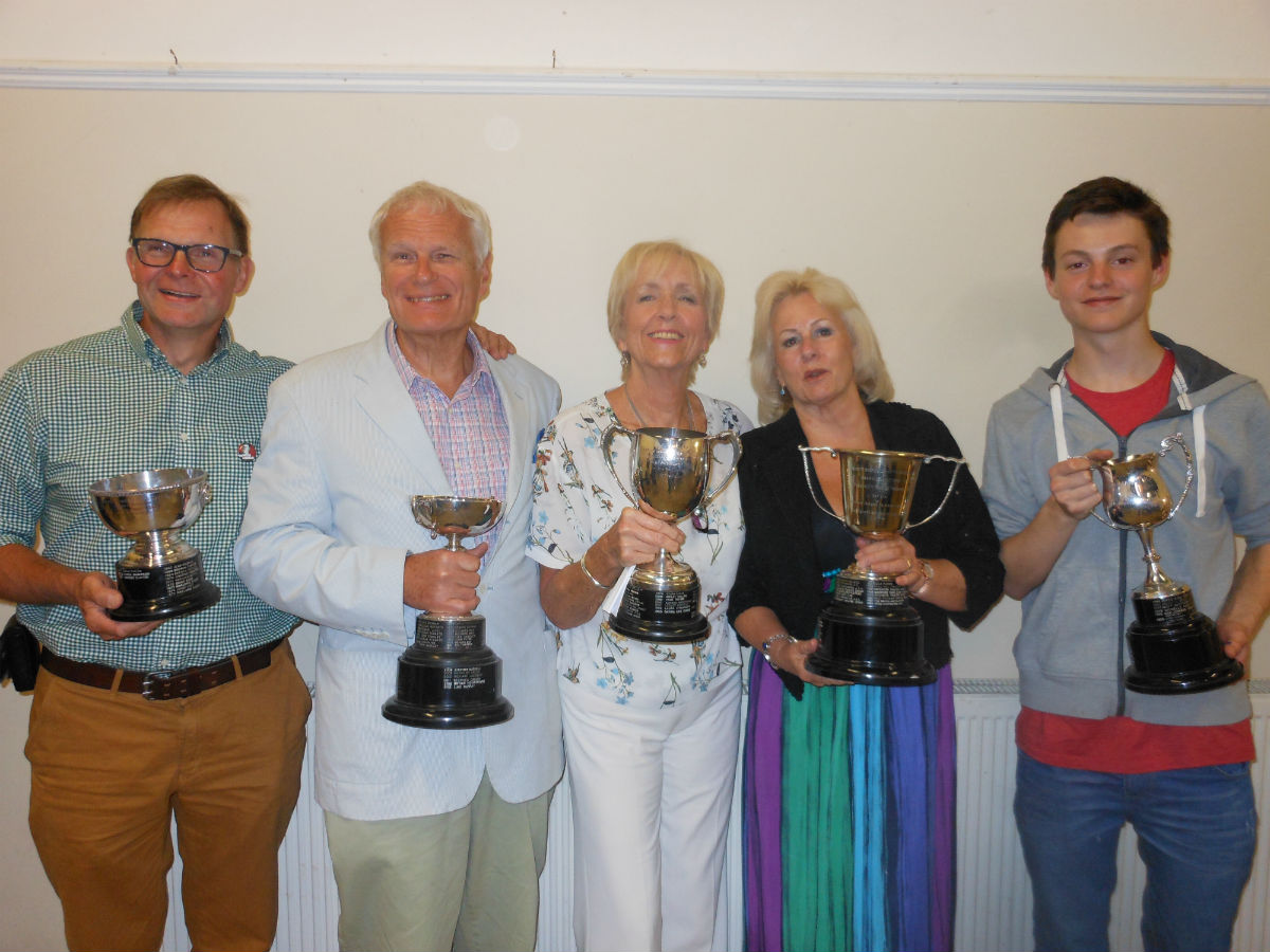 Bryan Hewitt, Mike Crisp, Val Golding, Robbie Crisp and George Rowlands brandish their awards.