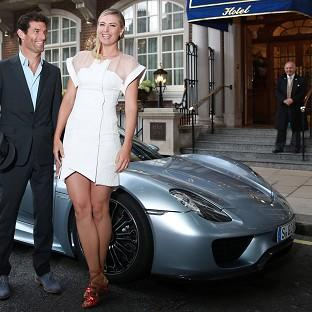 Maria Sharapova is picked up by racing driver Mark Webber  and
