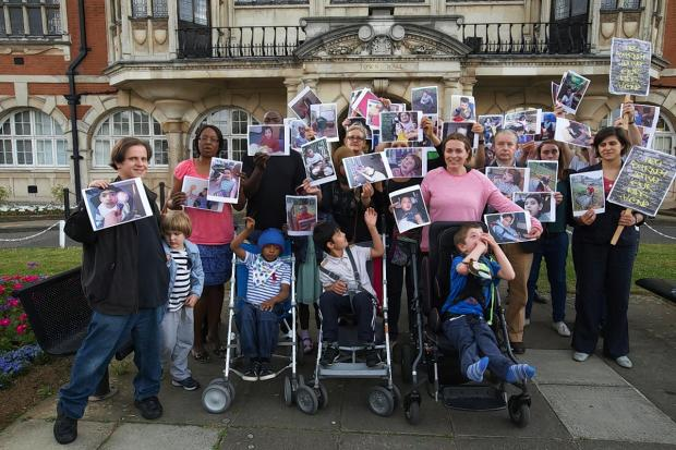 Times Series: Parents took to Hendon Town Hall with their disabled children this evening