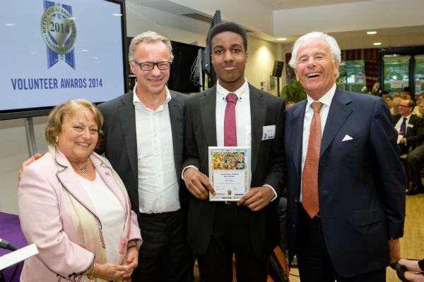Ninette Levy and Steven Lewis with award winner Terrell Okhira and president of Jewish Care, Lord Levy.