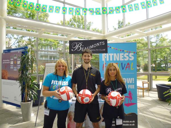 Joanne Maddock-Lyon, Adam Kyiet and Stephanie Savva getting ready for the World Cup fundraiser