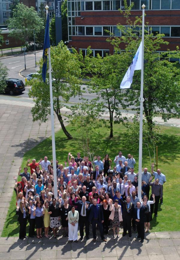 Staff from Hertsmere Borough Council gathered outside the front of the Civic Offices yesterday as a flag was raised to mark the borough's 40th anniversary.