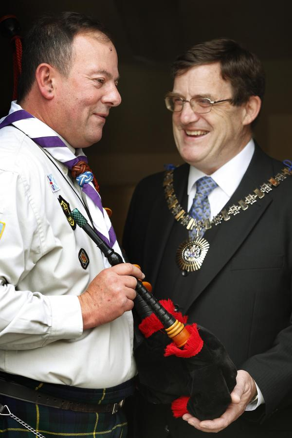 Scout leader Robert Wanders with the Mayor of Barnet, Councillor Hugh Rayner.