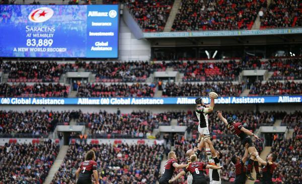 Saracens and Harlequins lock horns at Wembley in March. Picture: Action Images