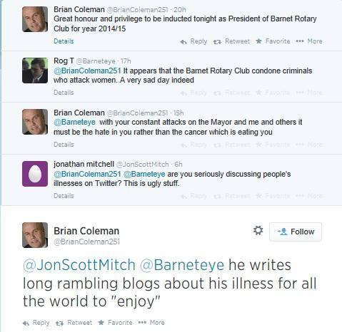 The tweets between Brian Coleman and Roger Tichborne