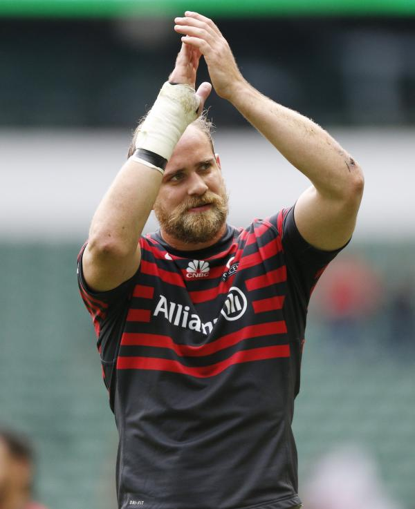 Alistair Hargreaves applauds Saracens supporters. Picture: Action Images