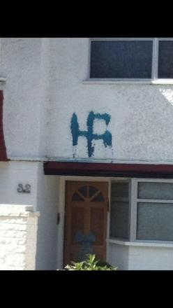 Swastika painted outside home
