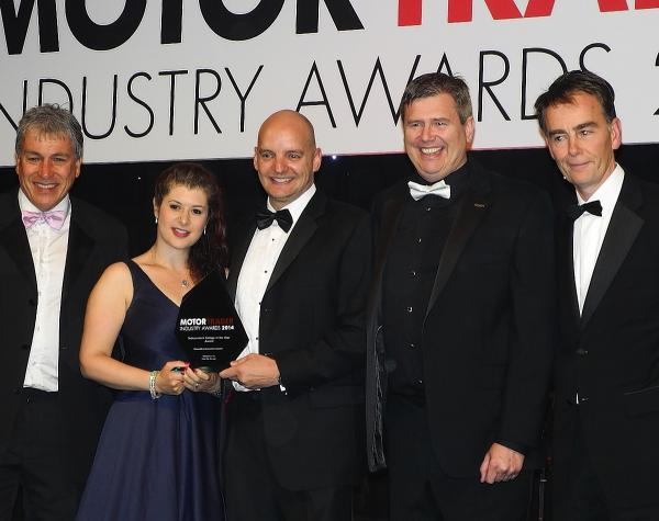 Left to right: John Inverdale, Jane and Steve Russell, Stuart James of the RMI, and Curtis Hutchinson, editor of Motor Trader