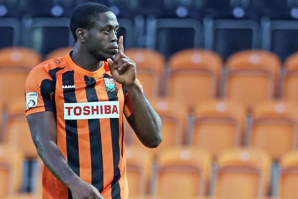 John Akinde celebrates his goal in Barnet's 2-0 win over Bristol Rovers. Picture: Dave Peters