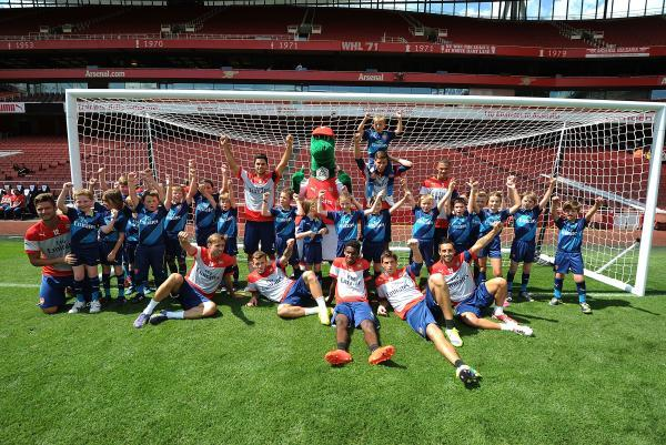 Josh with other members of the Arsenal FC junior team
