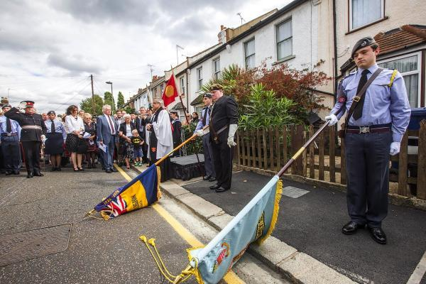 A paving stone was unveiled in the street where Private Parr lived
