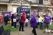 Protest following strike announcement by care workers