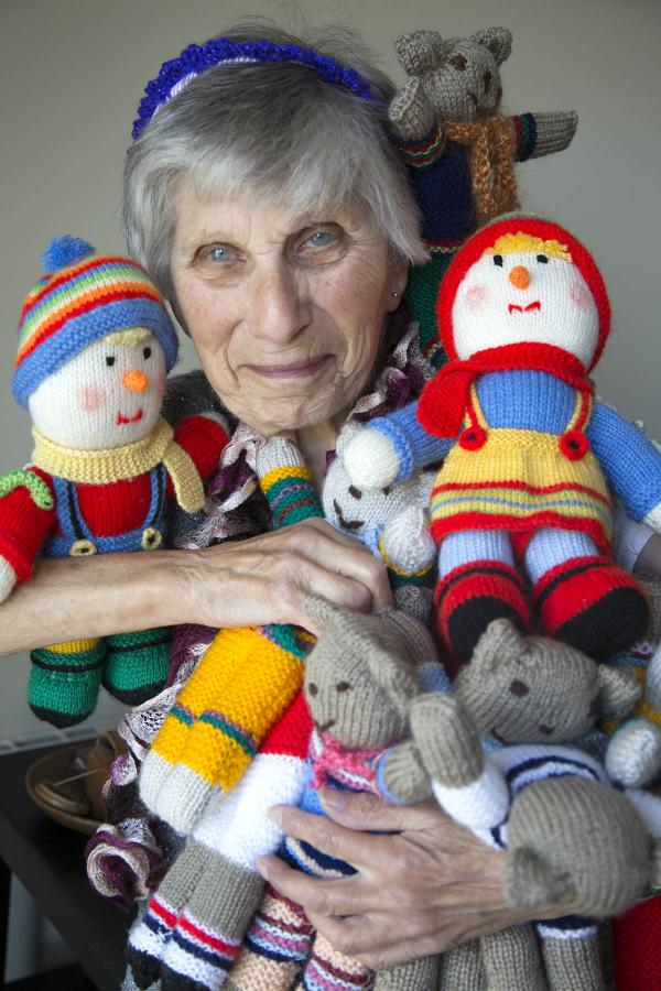 Myrtle Russell with her hand knitted teddy bears