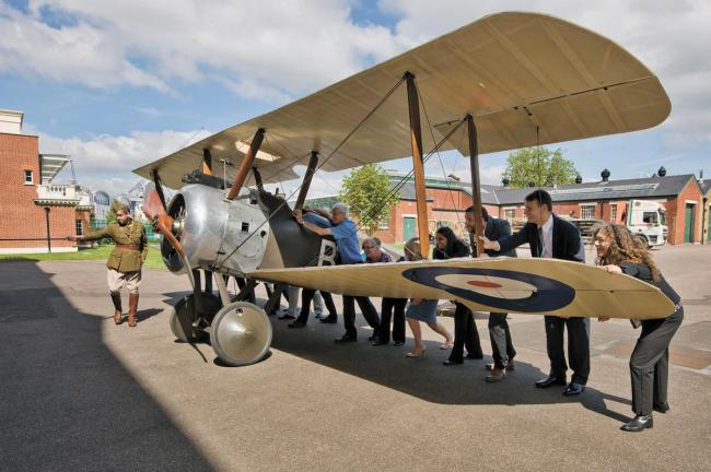 The Sopwith Camel being moved into place at the RAF Museum
