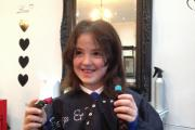 Sadie made the cut - and donated nine inches of her own hair