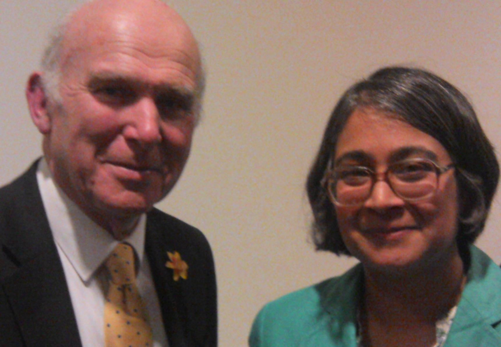 Liberal Democrat Business Secretary Vince Cable MP and Marisha Ray