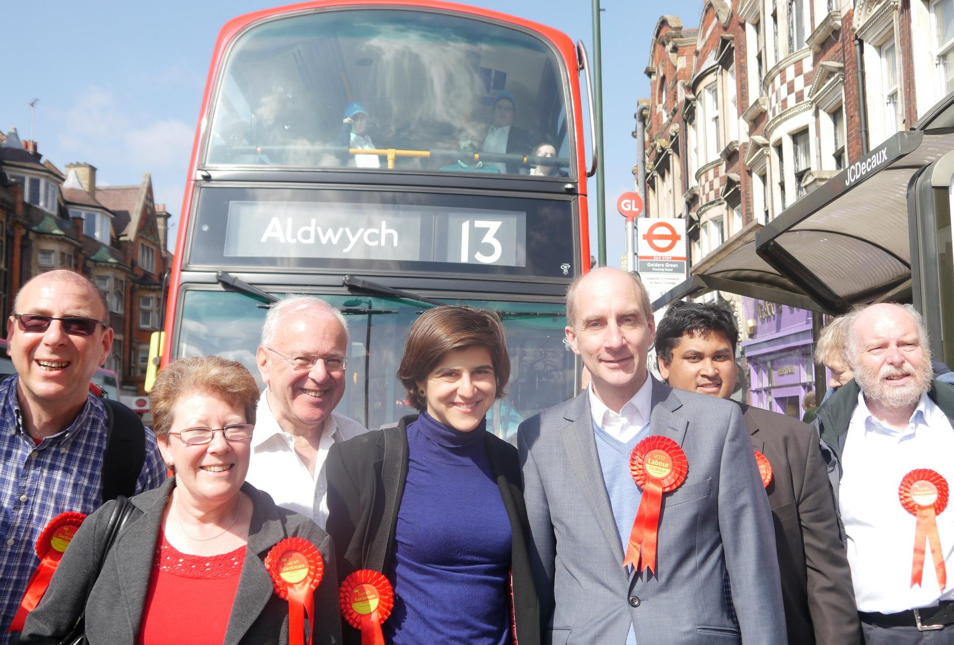 Barnet Labour leader Cllr Alison Moore, Sarah Sackman and Lord Adonis with Labour activists in Golders Green