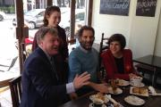 Ed Balls, a first time voter, Federation of Small Businesses north London chairman Michael Lassman and Sarah Sackman
