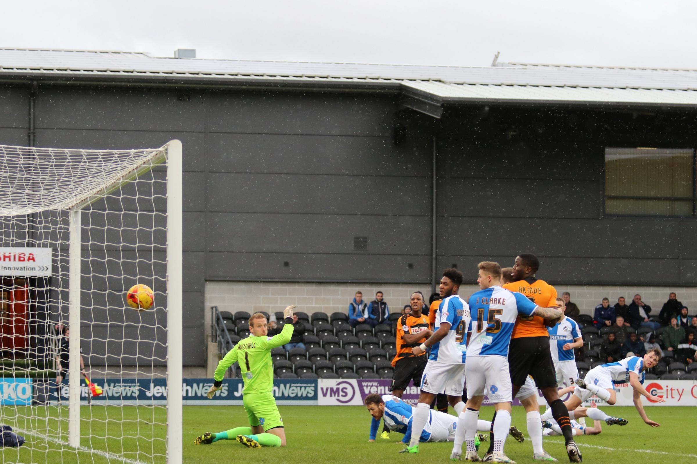 Gavin Hoyte scores to give Barnet three points against Bristol Rovers. Picture: Len Kerswill
