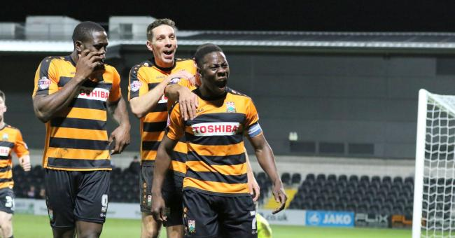Andy Yiadom (right) celebrates scoring the winner against Plymouth Argyle recently. Picture: Len Kerswill