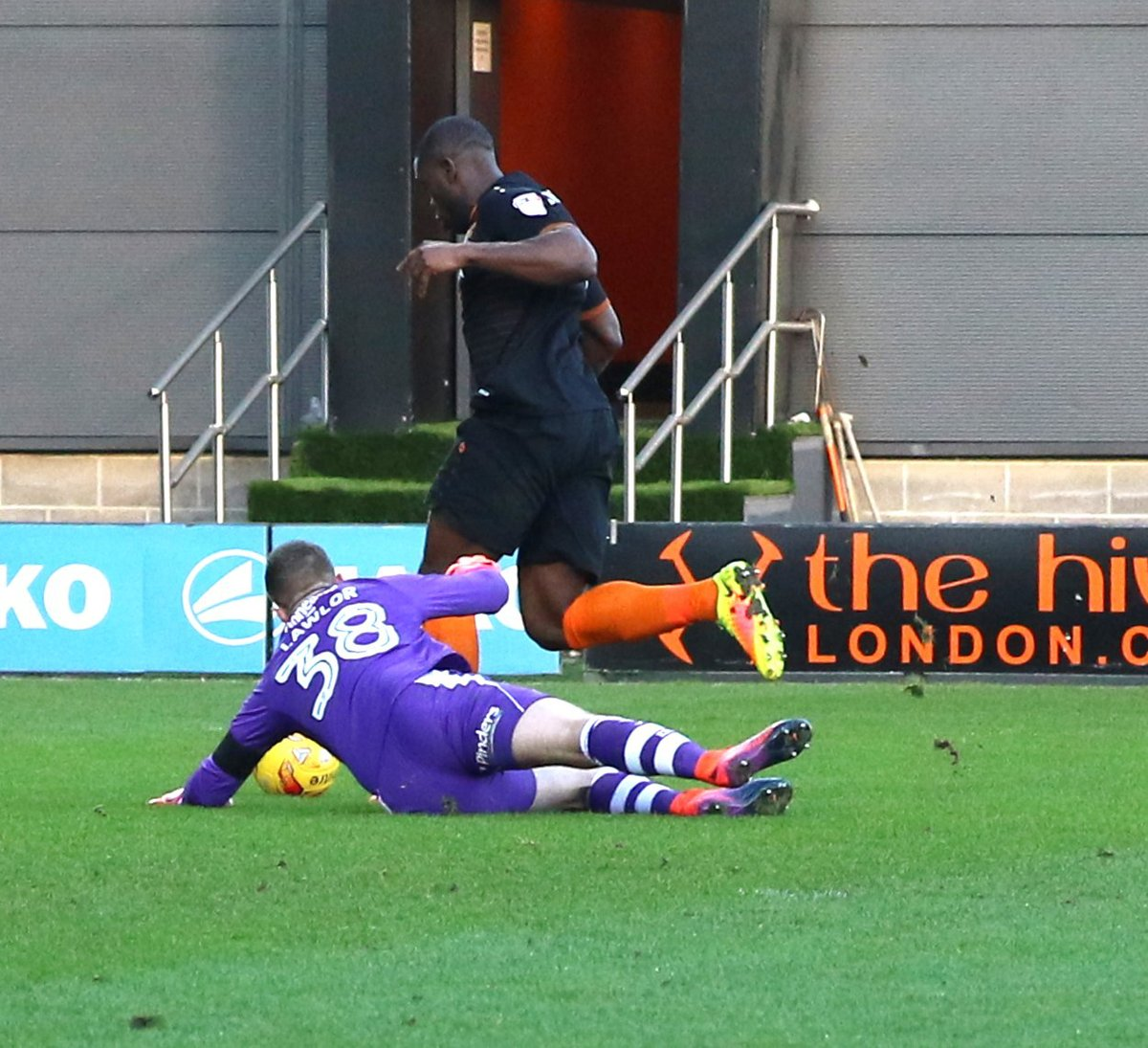 John Akinde rounds Ian Lawlor to give Barnet the lead but that was as good as it got for the Bees on Saturday. Picture: Len Kerswill