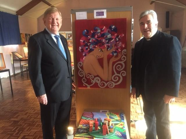 David Mason OBE and Reverend Tim Seago with best senior artwork by Sarah Wicken