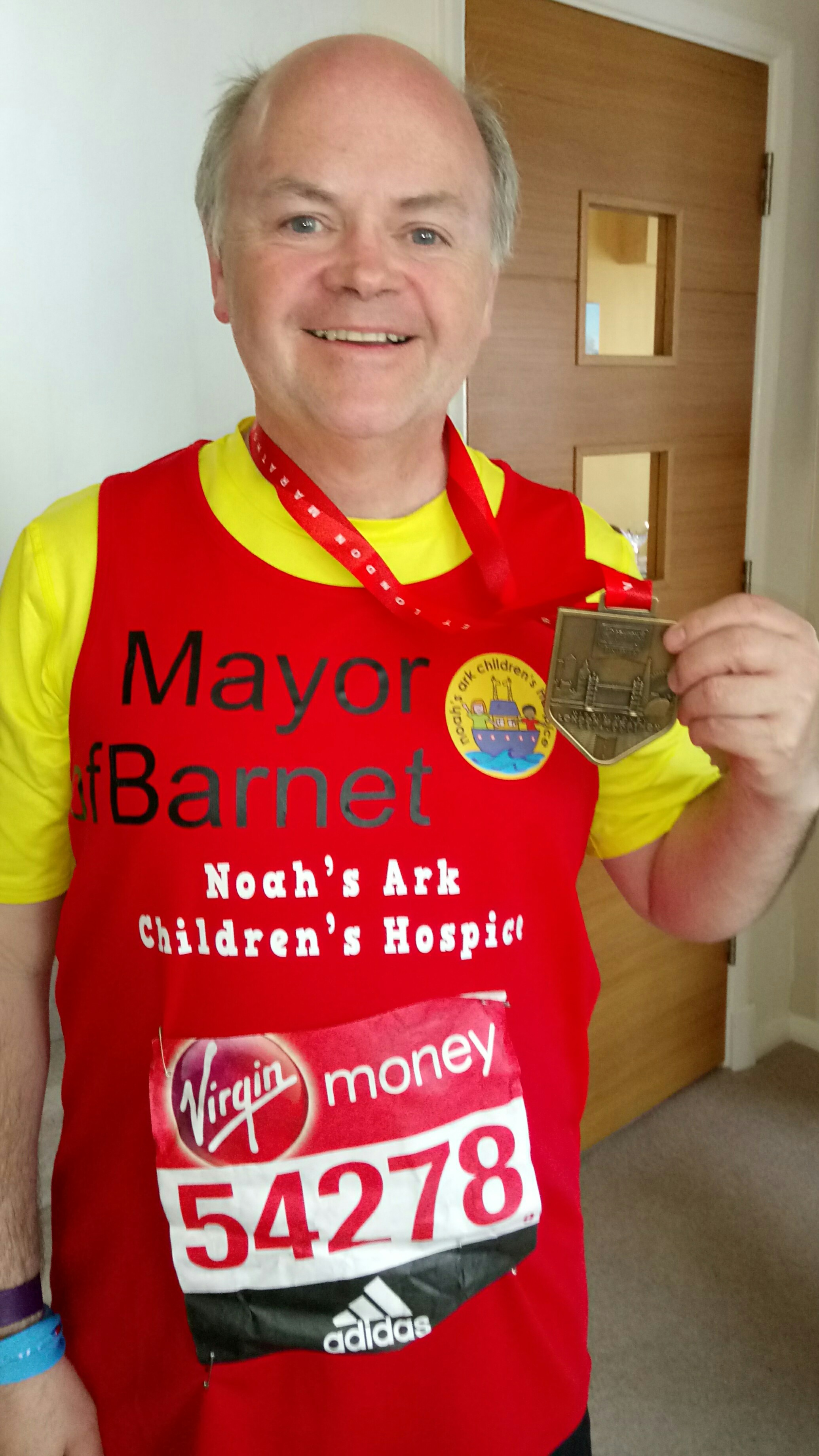Cllr David Longstaff after completing the London Marathon