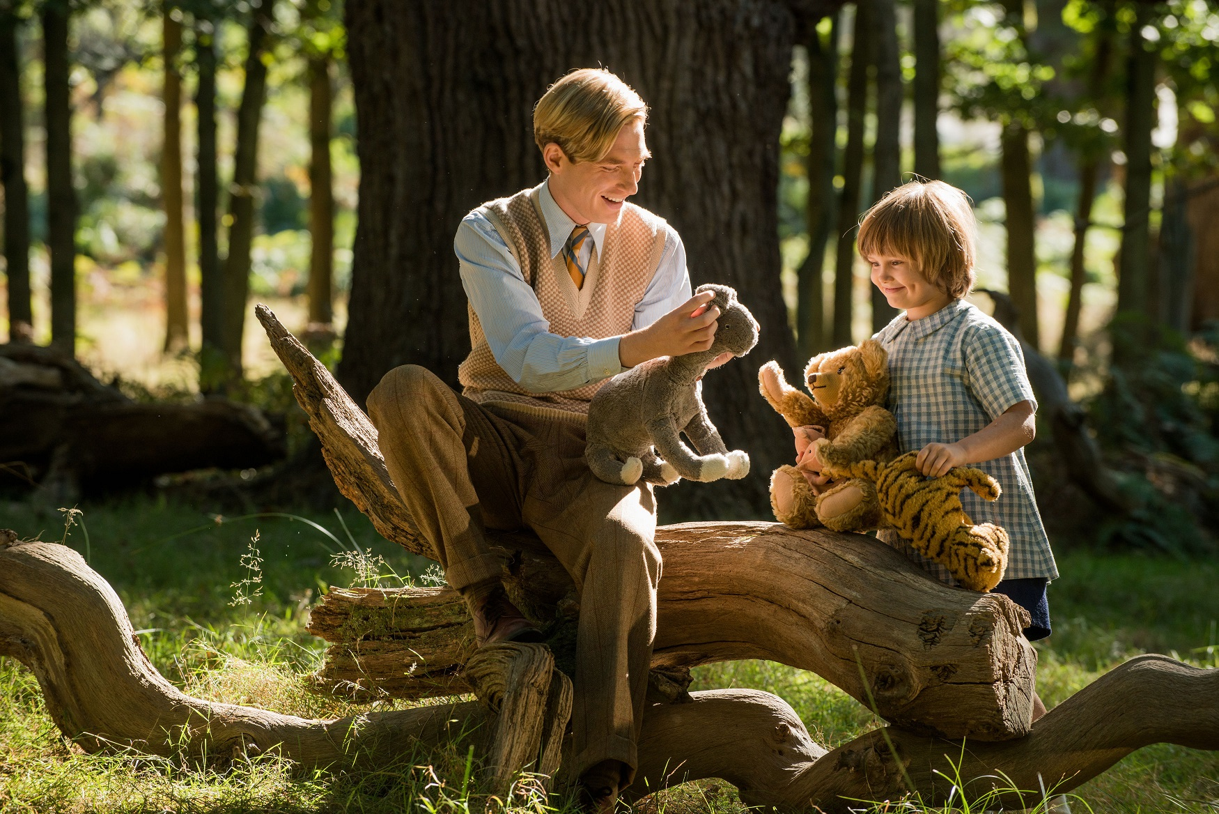 Domhnall Gleeson and Will Tilson as A.A. Milne and Christopher Robin