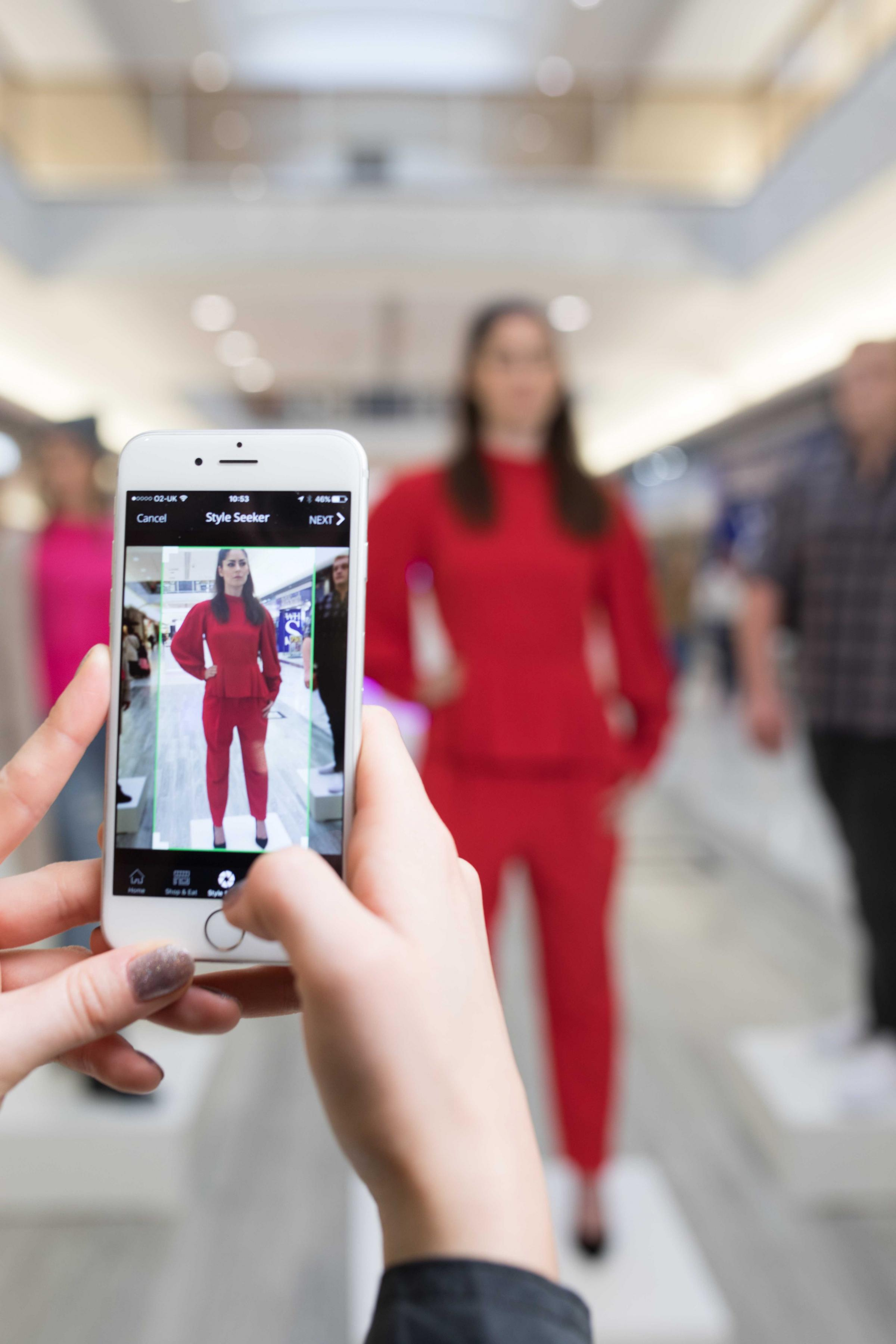 Natalie Goode poses as a mannequin so she can be scanned using the new Style Seeker app (Photo: Press Association)