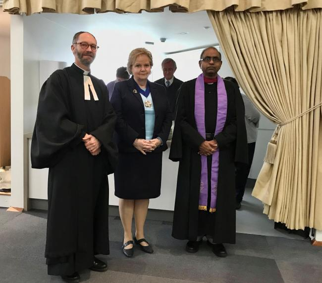 Revd Julian Templeton, Cllr Val Dushinsky and Revd Dr Andrew Prasad at the rededication service