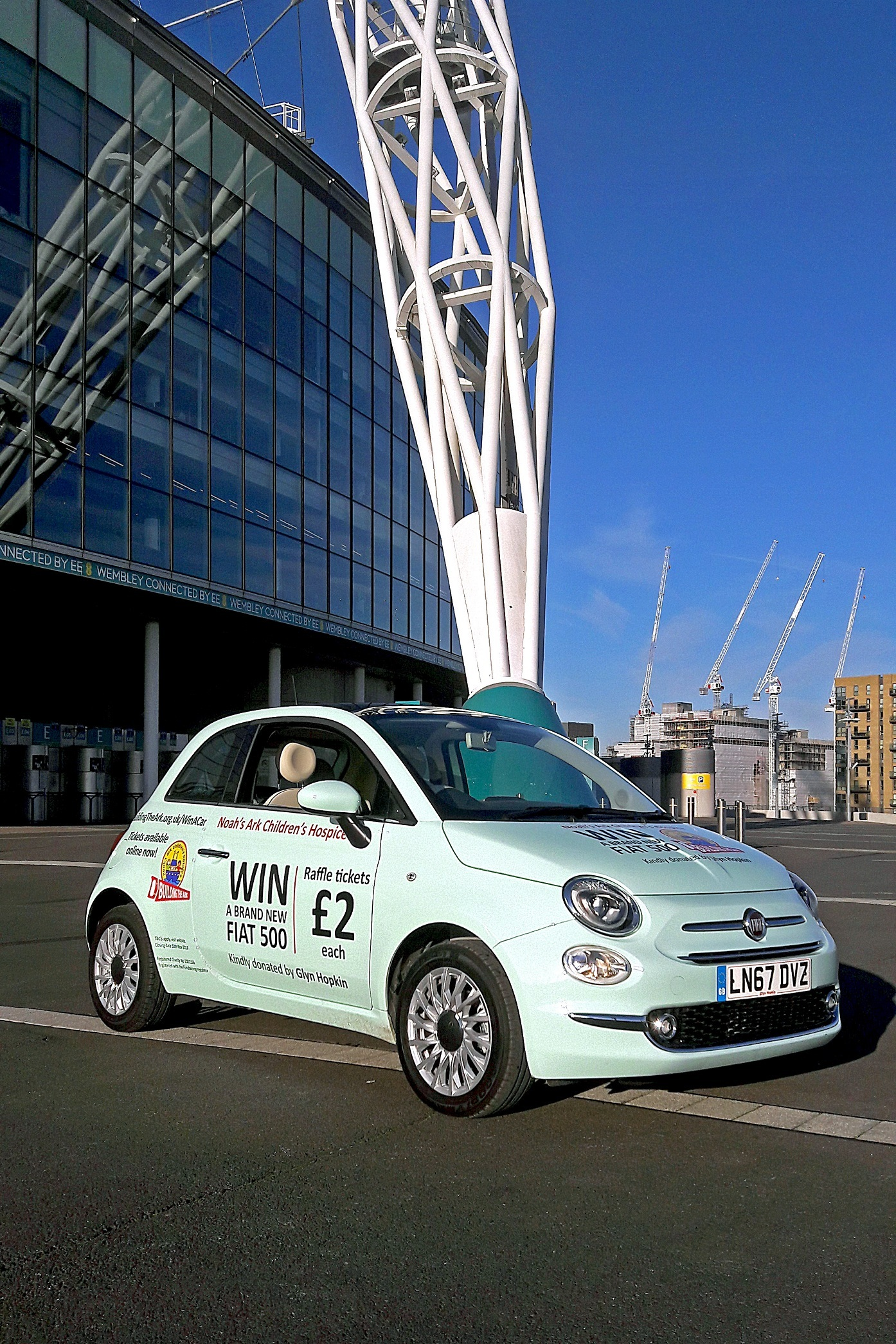 The Fiat 500, worth £11,000, to be won in the Noah's Ark Children's Hospice raffle