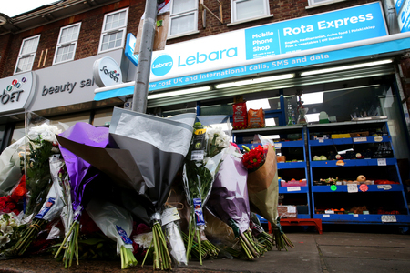 Floral tributes to Vijay Patel, who was assaulted and later died in hospital (Photo: Holly Cant)