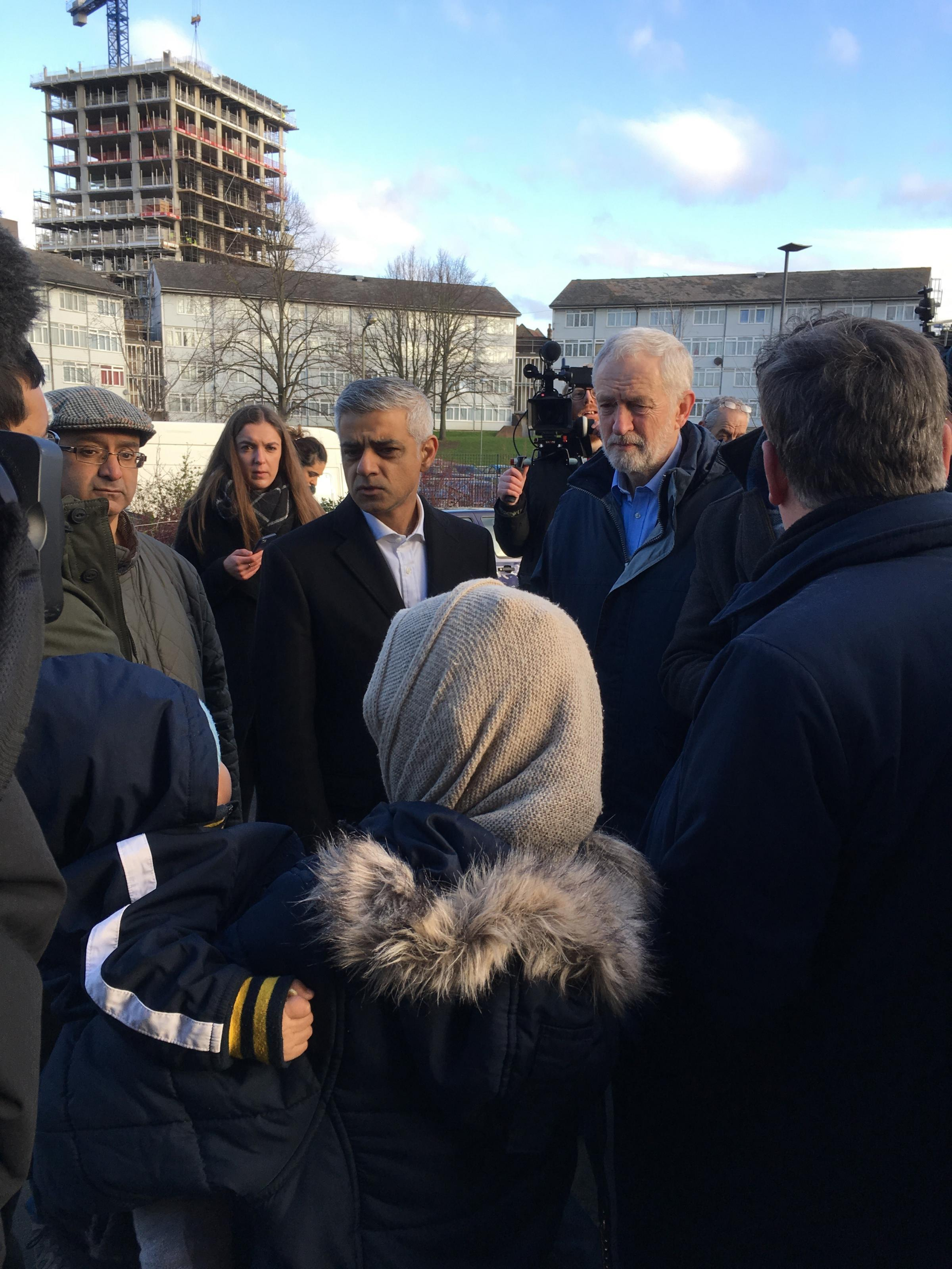 Mayor Sadiq Khan and Labour leader Jeremy Corbyn meeting with residents in West Hendon