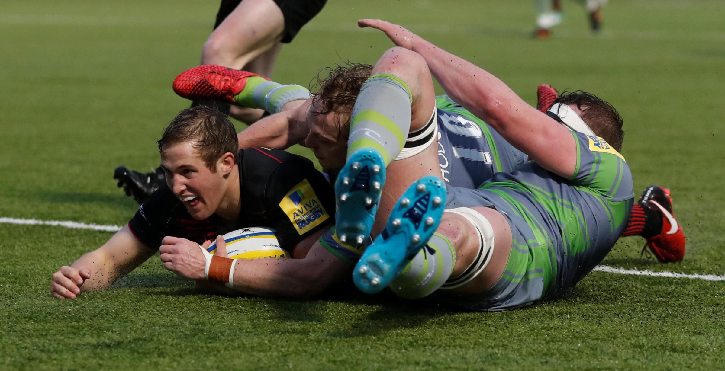 Max Malins touches down for Saracens. Picture: Action Images