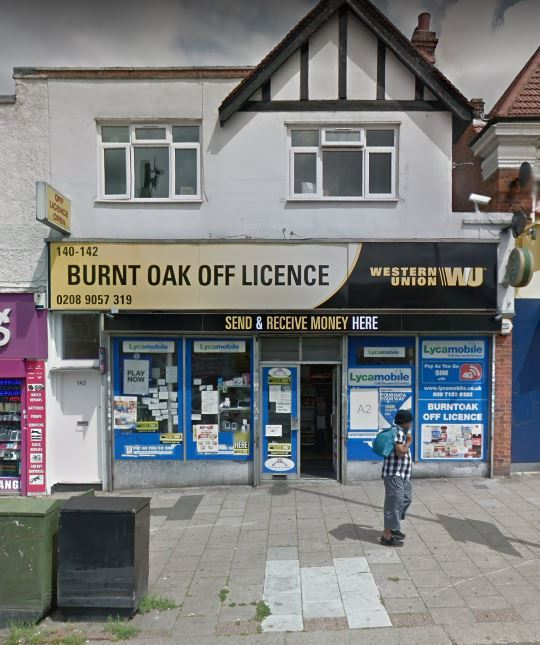 Burnt Oak Off Licence in Burnt Oak Broadway (Photo: Google Maps)