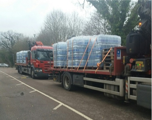 Bottled water was delivered to the Chickenshed Theatre in Southgate to help those who needed it