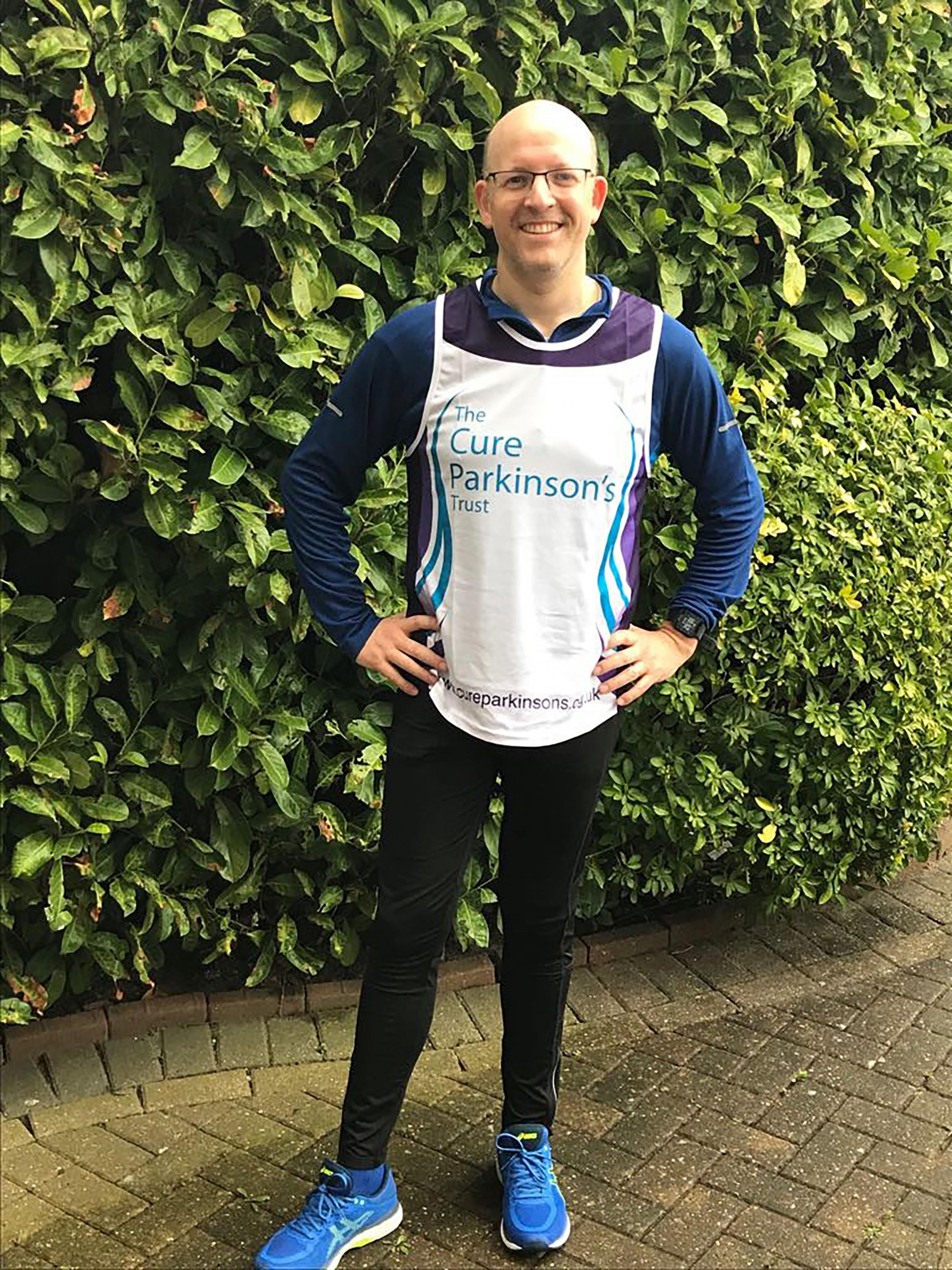 Daniel Quint, 44, The Rise, Edgware, is running in memory of his late father-in-law, Mark Monk, a long-term supporter of The Cure Parkinson's Trust.