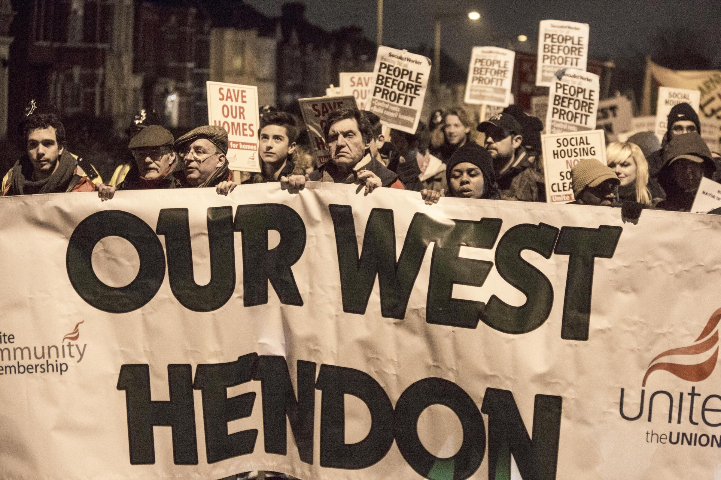 West Hendon march. Tenants from West Hendon Estate are marching from the estate to Hendon Town Hall.Marsh Drive Community Centre, Marsh Drive