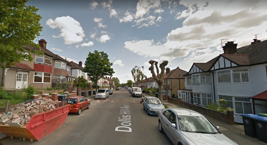 The woman was injured in her garden at a house in Dollis Hill Avenue. Photo: Google Maps.