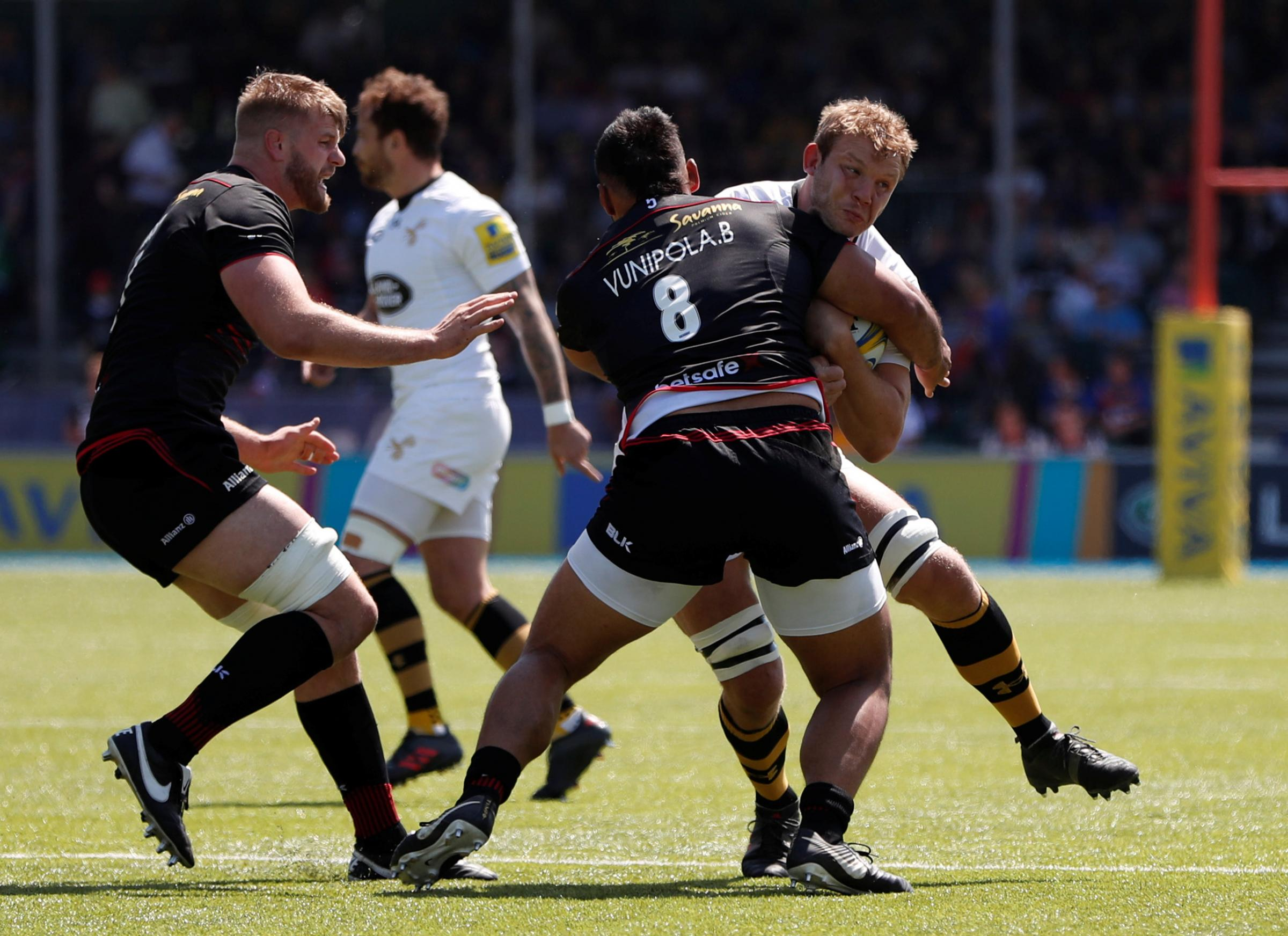 Billy Vunipola tackles Joe Launchbury in the semi-final win over Wasps before being forced off. Picture: Action Images
