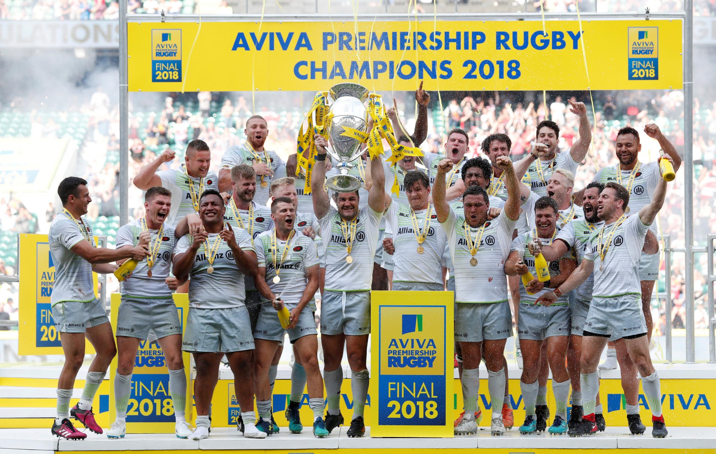 Champions again: Saracens celebrate their triumph. Picture: Action Images