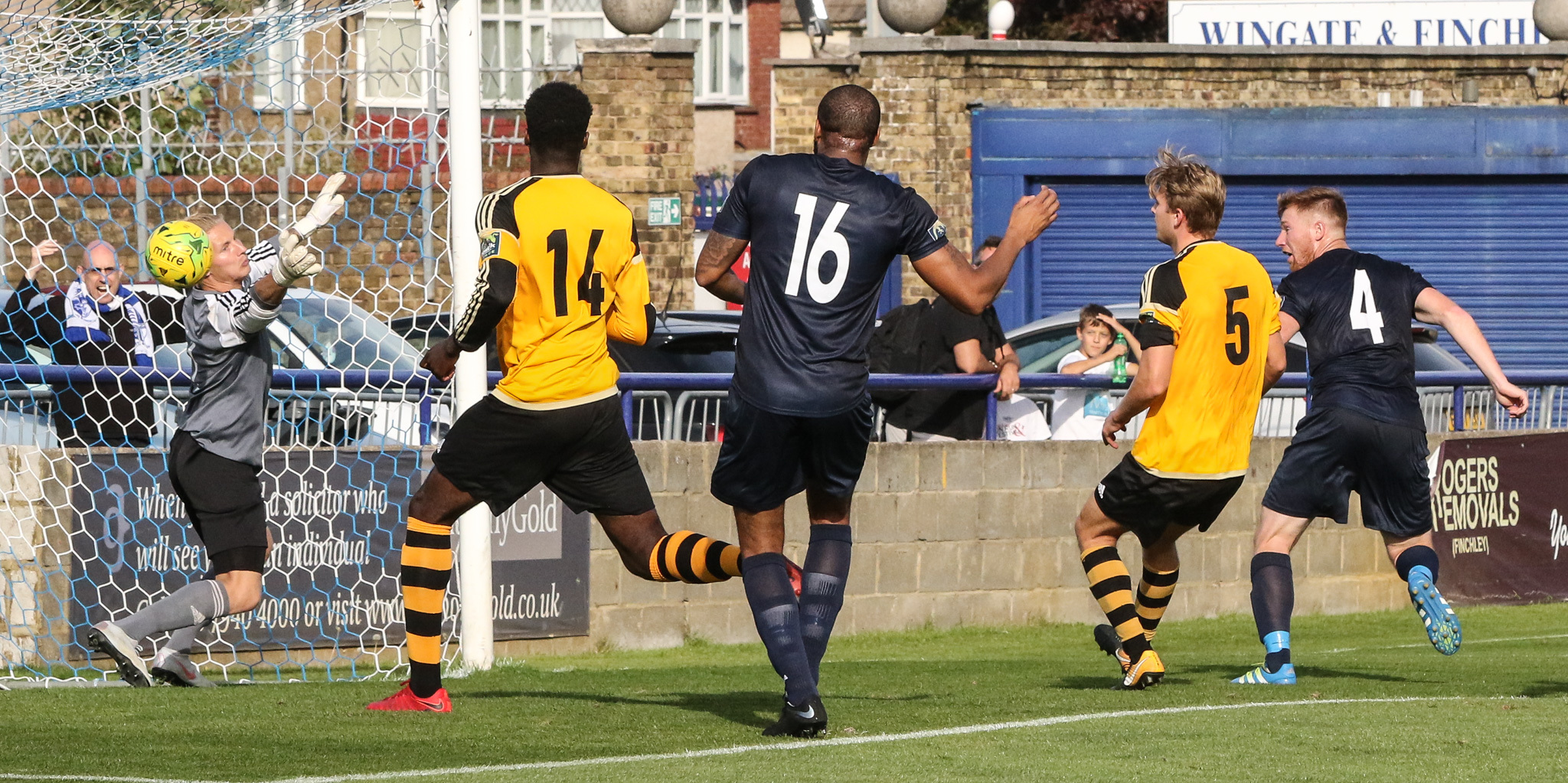 Marc Weatherstone heads in Wingate's second goal. Picture: Martin Addison