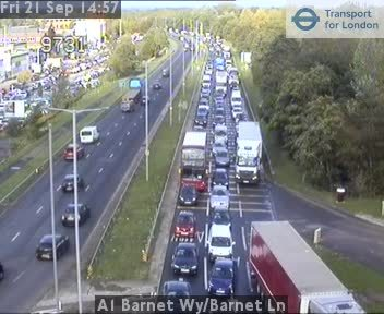 Traffic approaching Stirling Corner earlier this afternoon Picture: TFL Cameras